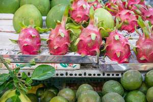 Pitaya and other Fruits sold at Ben Thanh Market in Saigon