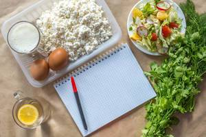 Planning diet concept. Flat lay view of notepad with a pen and organic healthy food: cottage cheese, eggs, greens, salad, apple, and greens on brown paper (Flip 2019)