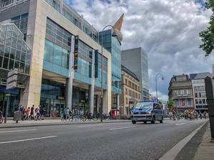 Police accompany the worldwide movement critical mass - bicycle demonstration - at Neumarkt in Cologne, Germany