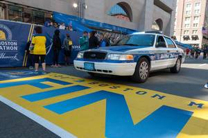 Police Car at Boston Marathon Finish Line