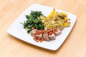 Pork, Bacon, Wedges and Spinach