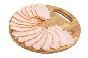 Pork Ham arranged on the wooden board