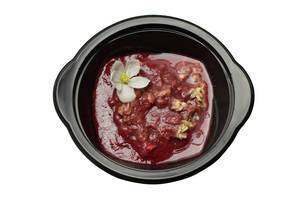 porridge with chia seeds and strawberry sauce