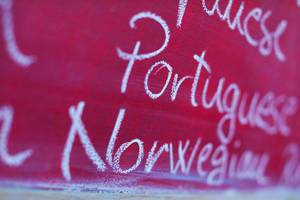 Portuguese and Norwegian, among many foreign languages written with chalk, school chalkboard