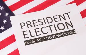 President Election date with USA flag background