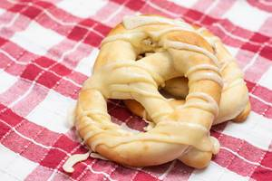 Pretzels on the kitchen table cloth