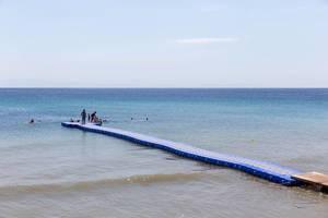 Private beach of Aelia Bar Restaurant & Beach Lounge
