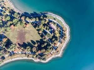 Promontory Point in Chicago aus der Vogelperspektive (Luftbildaufnahme)