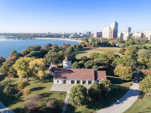 Promontory Point in Chicago und East Hyde Park im Hintergrund