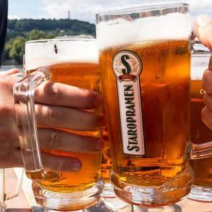 Prost: Anstoßen mit Staropramen Bier in Prag