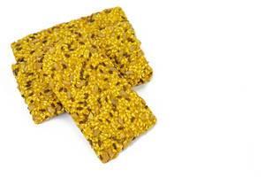 Protein Curcuma Cereals Crackers above white background (Flip 2019)
