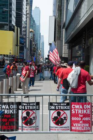 Protest gegen Verizon in New York City, USA