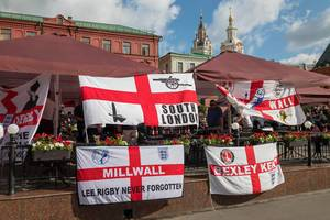 Pub in Moscow occupied by British soccer fans