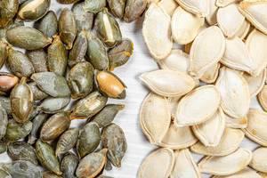 Pumpkin seeds, shelled and peeled and whole