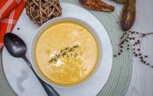 pumpkin Soup with Fresh Thyme top View