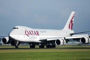 Qatar Cargo B747 plane at Amsterdam Airport Schiphol