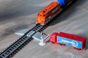 Railway crossing with a truck and a train at the barrier (Flip 2019) (Flip 2019)