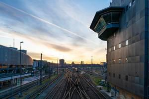 Railway hub with control tower in Munich, Germany