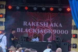 Rakesh aka Blackjack9000 playing music at Tomorrowland festival in Belgium