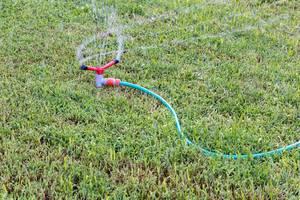 Rasen wird mit einem Gartensprinkler gewässert
