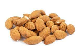 Raw Almonds isolated above white background