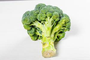 Raw fresh broccoli on white background (Flip 2019)