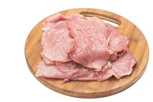 Raw Pork Meat on the wooden board above white background