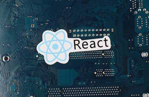 React logo over electronic circuit board background