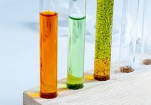 Reagenzgläser mit verschiedenen Indikator-Flüssigkeiten in einem Holzständer Nahaufnahme