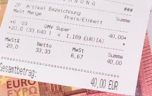 Receipt closeup on Euro money