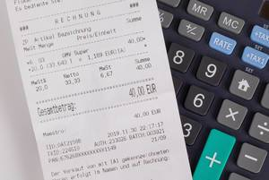 Receipt on a calculator