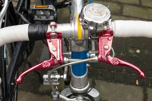 Red brake handles and bell on a racing cycle