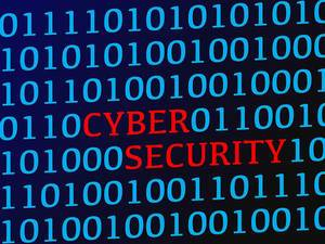 Red Text Cyber Security between Blue Binary Code Data on Screen