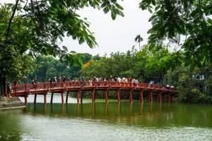 Red Wooden Bridge on Hoan Kiem Lake in Hanoi