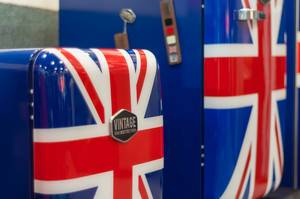 Refrigerators of different sizes with Union Jack UK flags by Vintage Industries