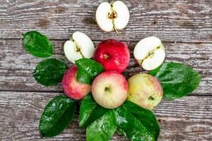 Reife rote und grüne Äpfel mit Blättern auf grauem Holzhintergrund