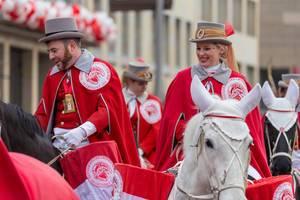 Reiterkorps der Große Kölner KG beim Rosenmontagszug - Kölner Karneval 2018