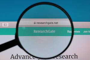 ResearchGate website under magnifying glass