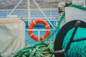 Rettungsring auf Schiff Valletta und Tau
