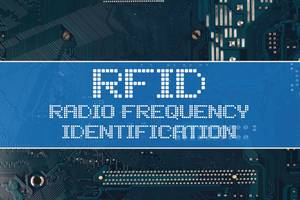 RFID Radio frequency identification text over electronic circuit board background