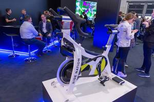 Ride Nation indoor bike from Bahrain's first multi-sensory cycling and fitness studio at fitness trade show in Cologne