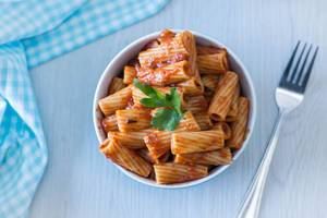 Rigatoni Pasta With Tomato Sauce  Top View