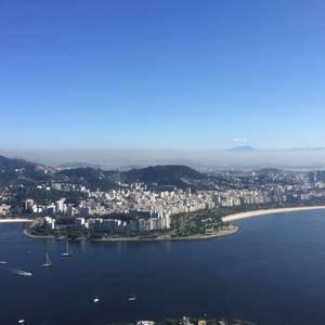 Rio de Janeiro, Brasilien, aufgenommen aus der Seilbahn auf den Zuckerhut