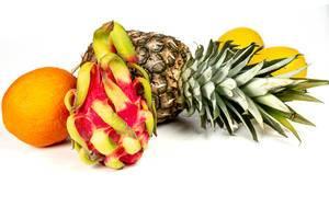 Ripe fresh exotic fruit on a white background (Flip 2020)