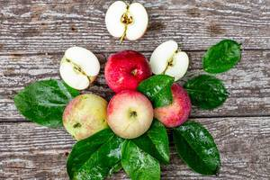 Ripe red and green apples with leaves on grey wooden background (Flip 2019)