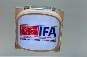 Robotic window cleaner with IFA 2018 logo