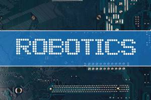 Robotics text over electronic circuit board background
