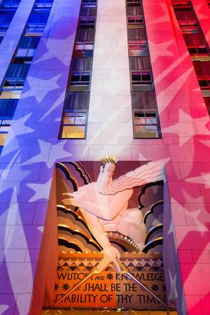 Rockefeller Center during Election Night
