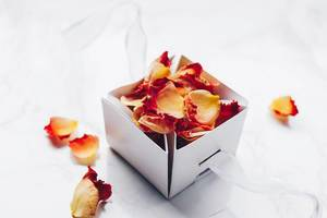 Rose petals in a gift box.