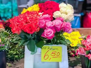 Rosen verschiedener Farben werden a 10 Stück verkauft